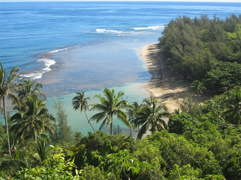 View of Ke'e Beach on the Kalalau Trail